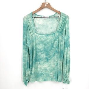 NEW Fever Square neck ribbed top stretch ruched puff sleeve Green Tie-Dye XL